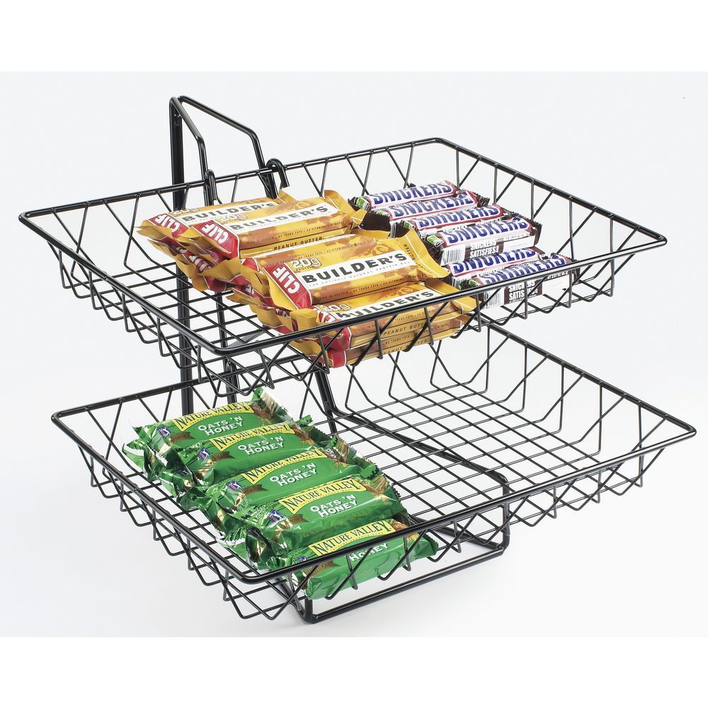 "Cal-Mil Wire Basket Stand With Two 18""L x 12""W Baskets