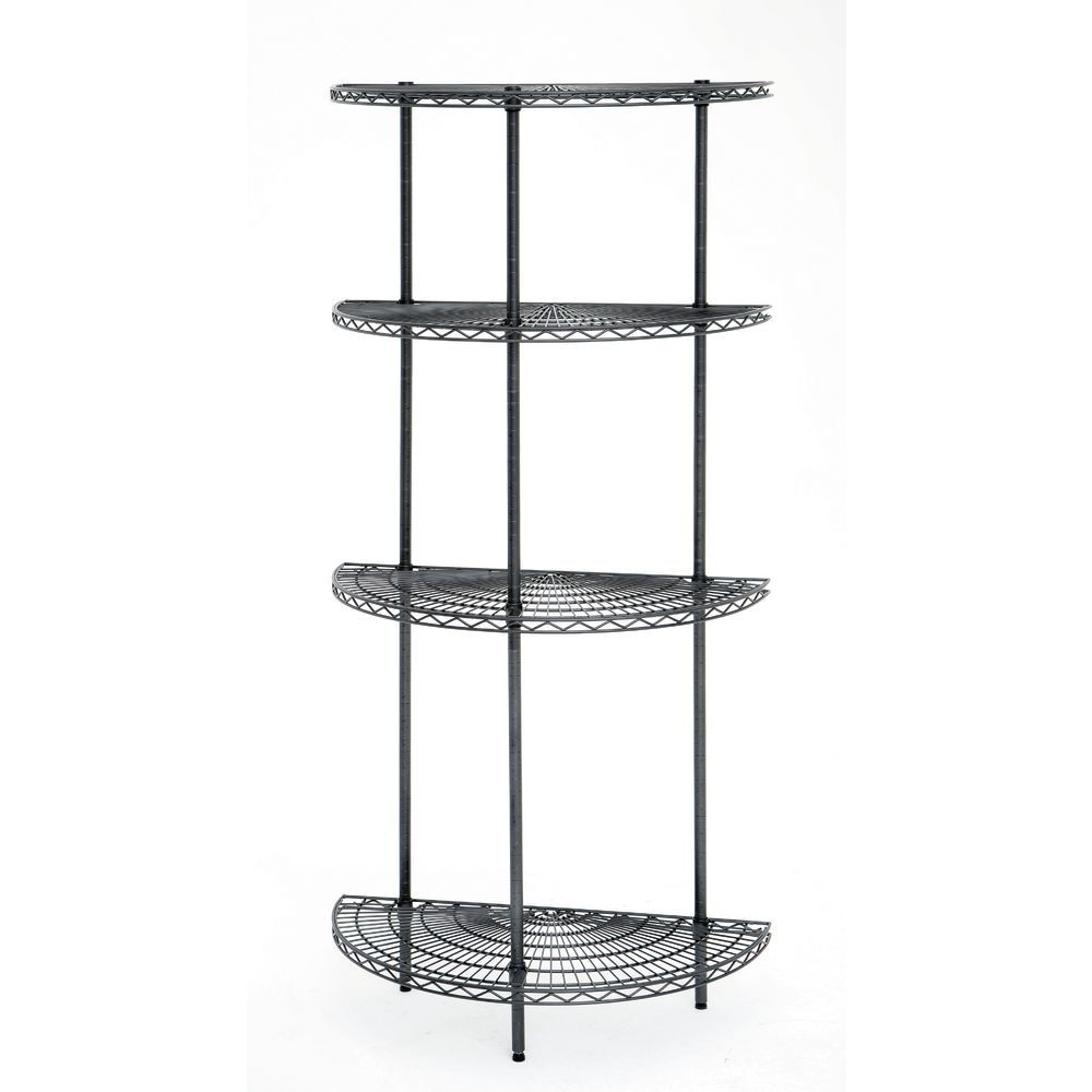 Wire Shelving Units Can be Used as End Caps or Double Up to Create A Round Tower