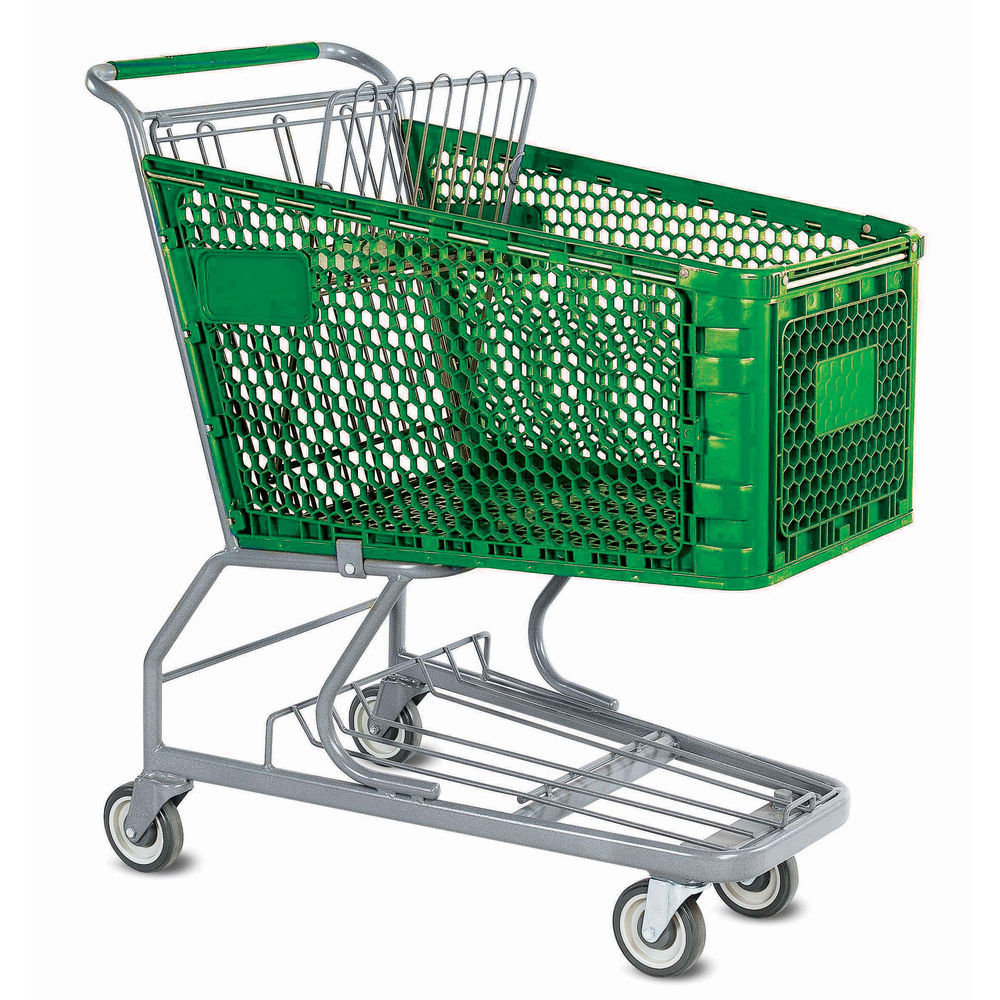 Large Shopping Cart with Colored Handle Grips