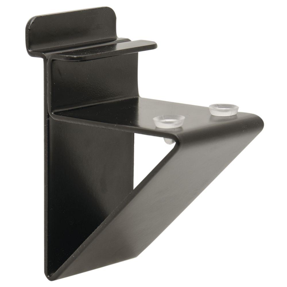 "Low Profile Shelf Bracket For 3/4"" Wood Shelves, Black"