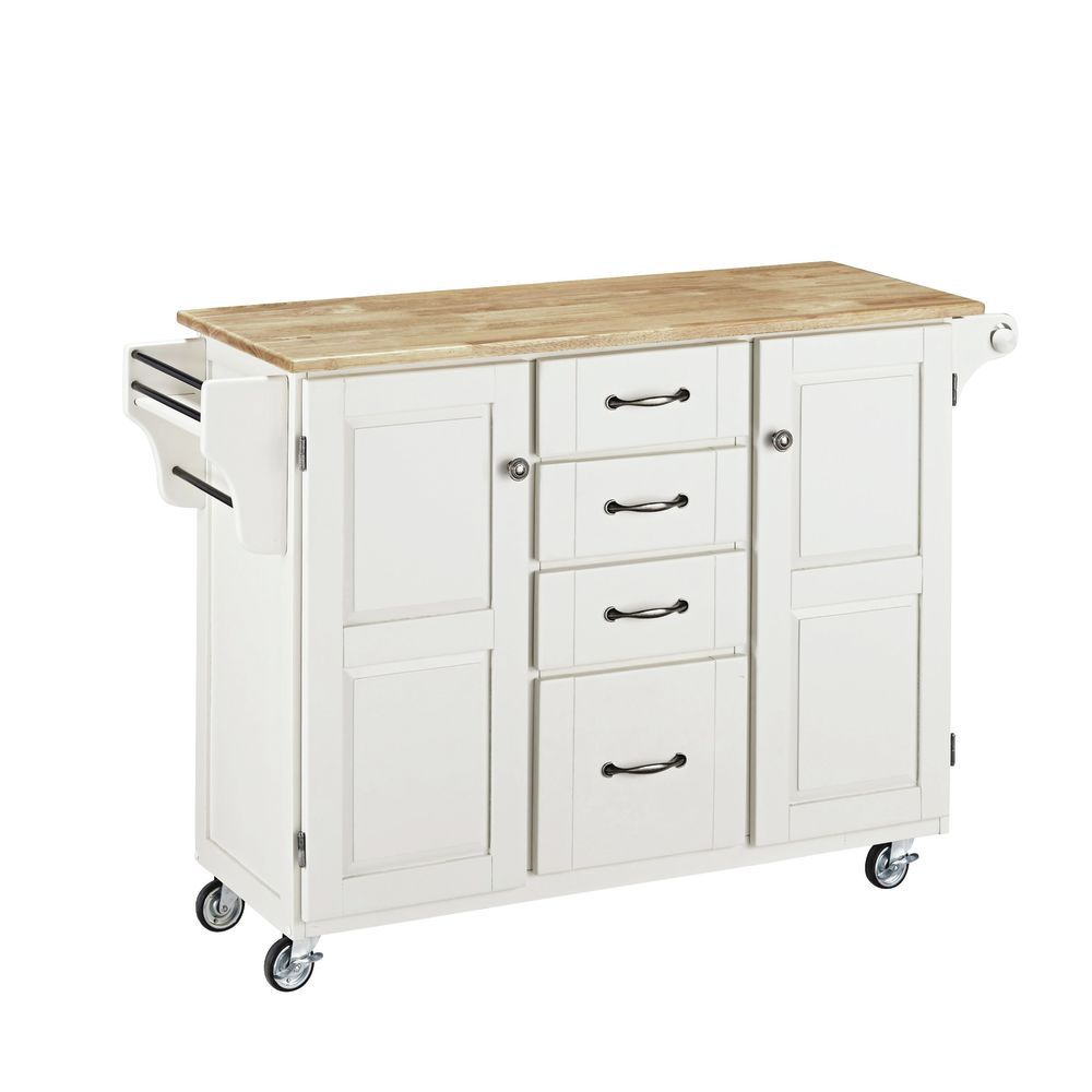 White Mobile Kitchen Cart