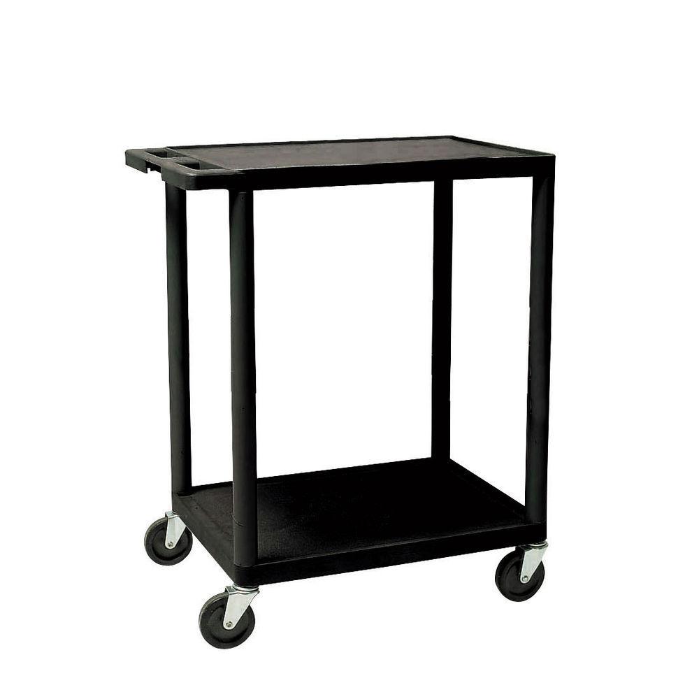 24 x 18 x 33 Black Plastic Cart, 2 Shelves