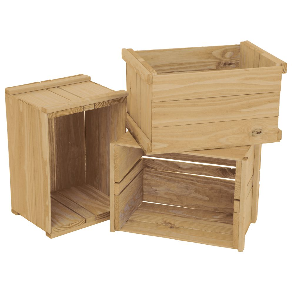 CRATE, HEAVY-DUTY, NATURAL WOOD, 3/SET