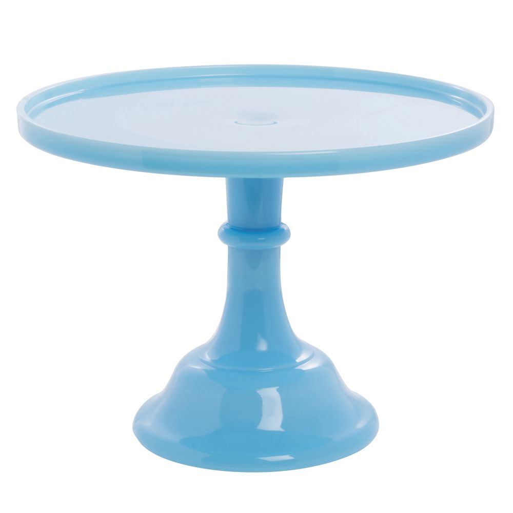 CAKE STAND, GLASS, 12DIAX9H, ROBIN EGG BLUE