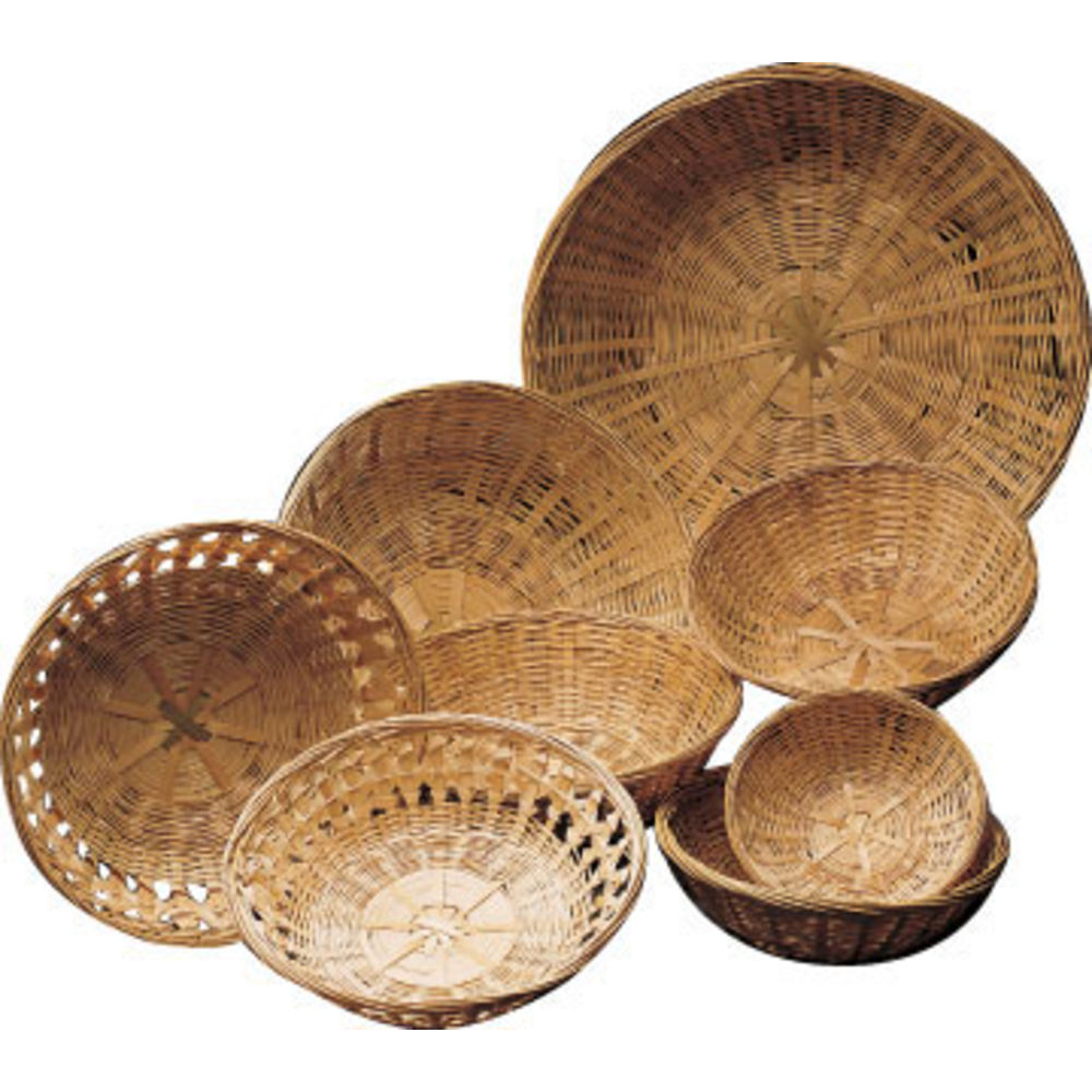 12 x 4 Round Bamboo Basket Closed Weave