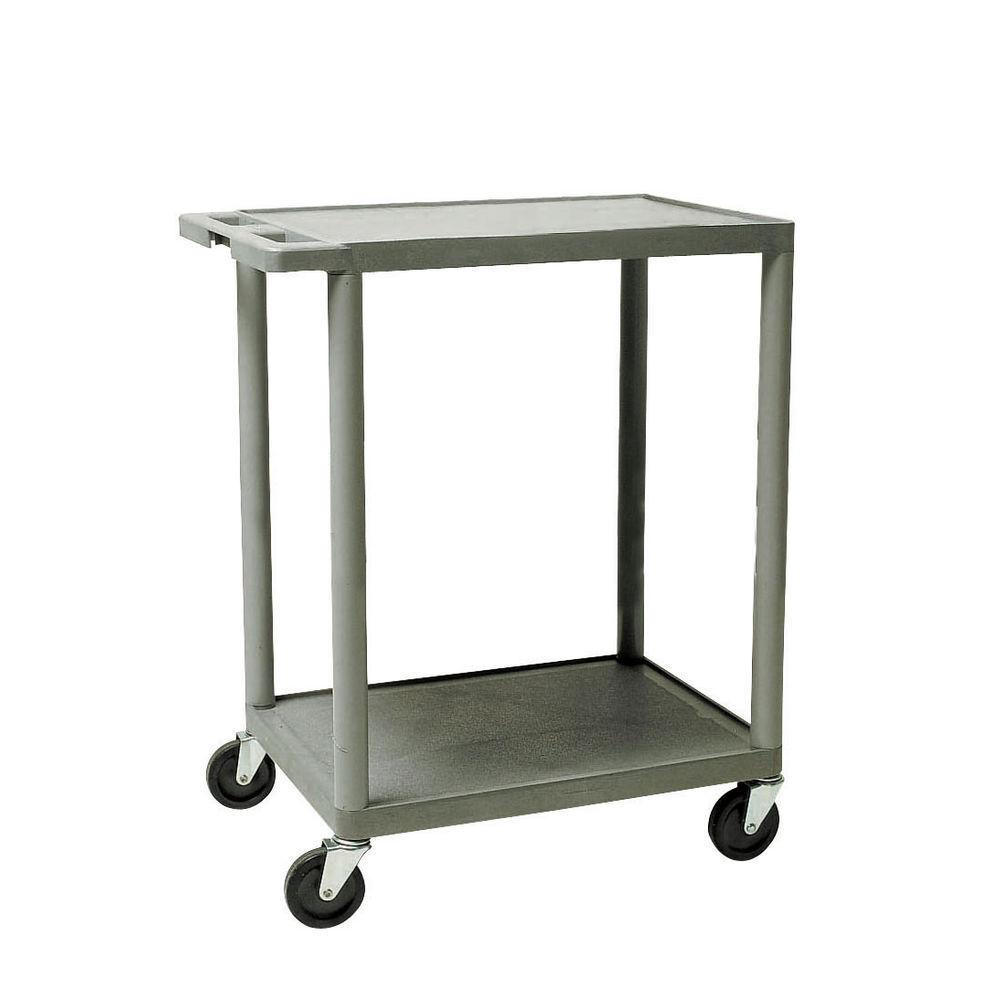 24 x 34 x 18 Grey Plastic Cart, 2 Shelves