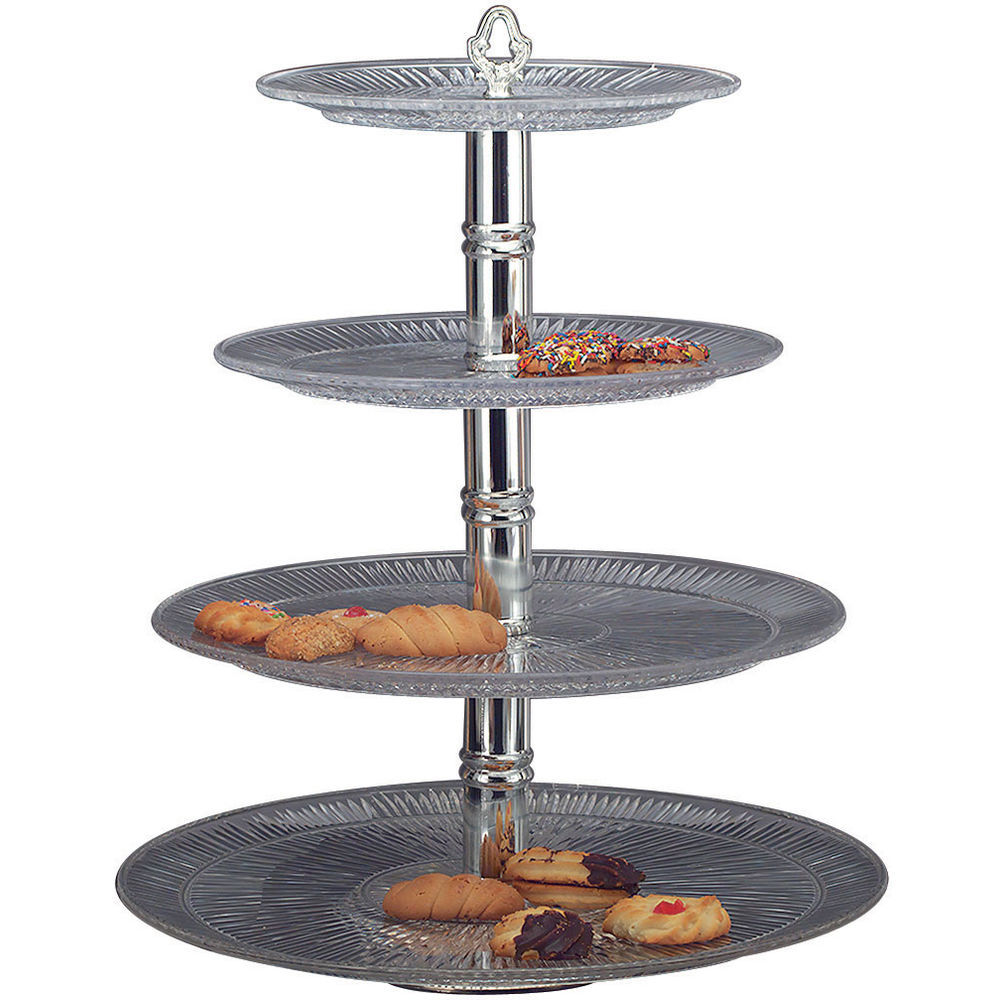 """STAND, 4-TIER, PLASTIC/SILVER, 18""""DIAX23""""H"""