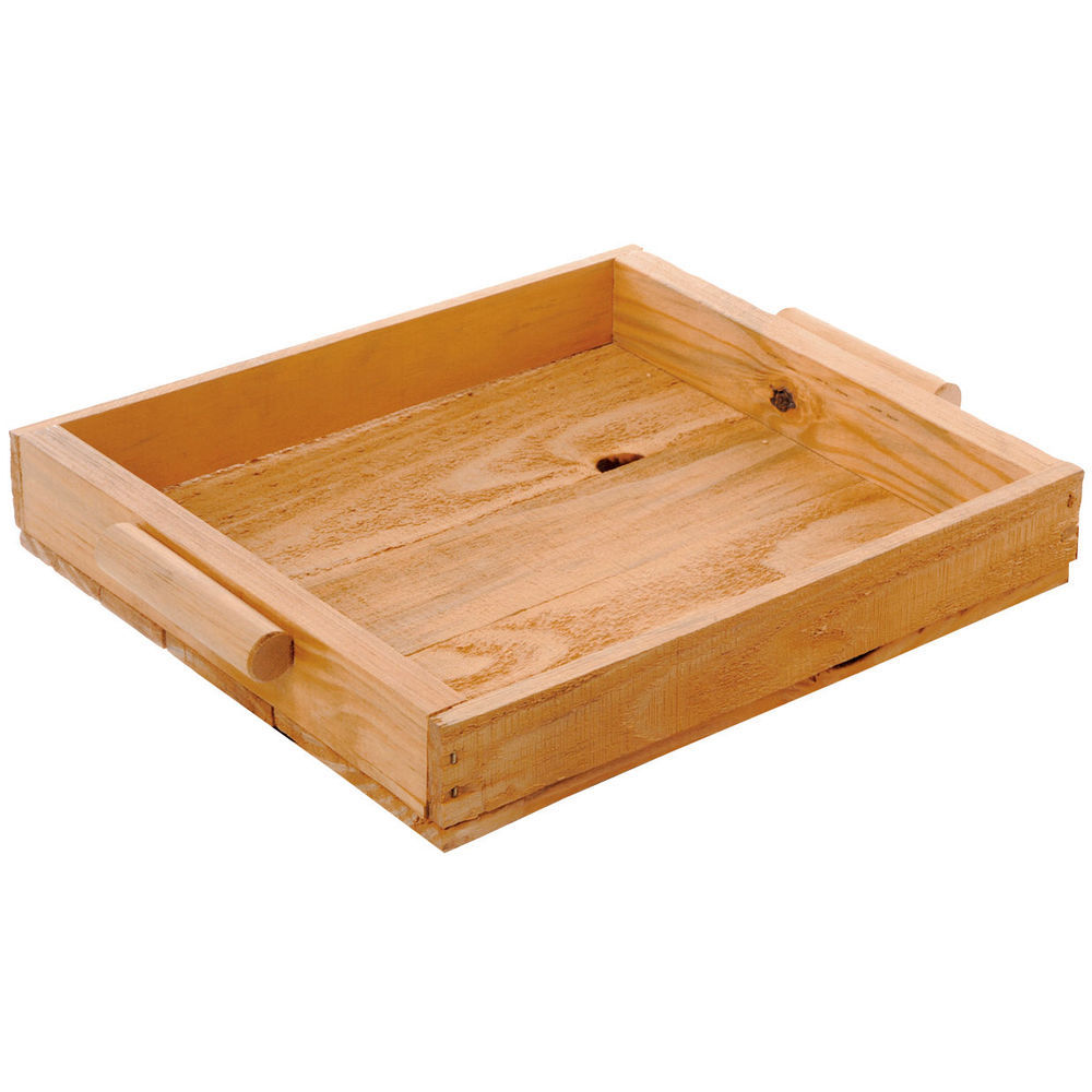 TRAY, PINE, HANDLES, OAK, SMALL
