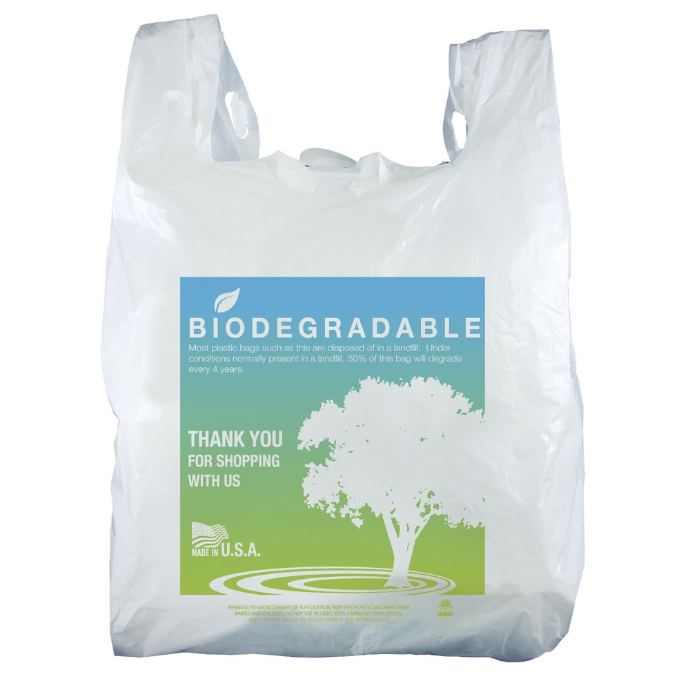 "BAG, T-SHIRT, ""THANKS"", OXOBIODEGRADABLE"