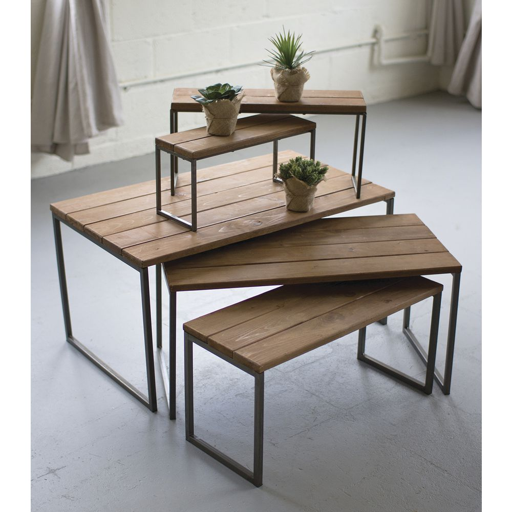 Retail Nesting Tables ~ Iron wood nesting retail display risers set