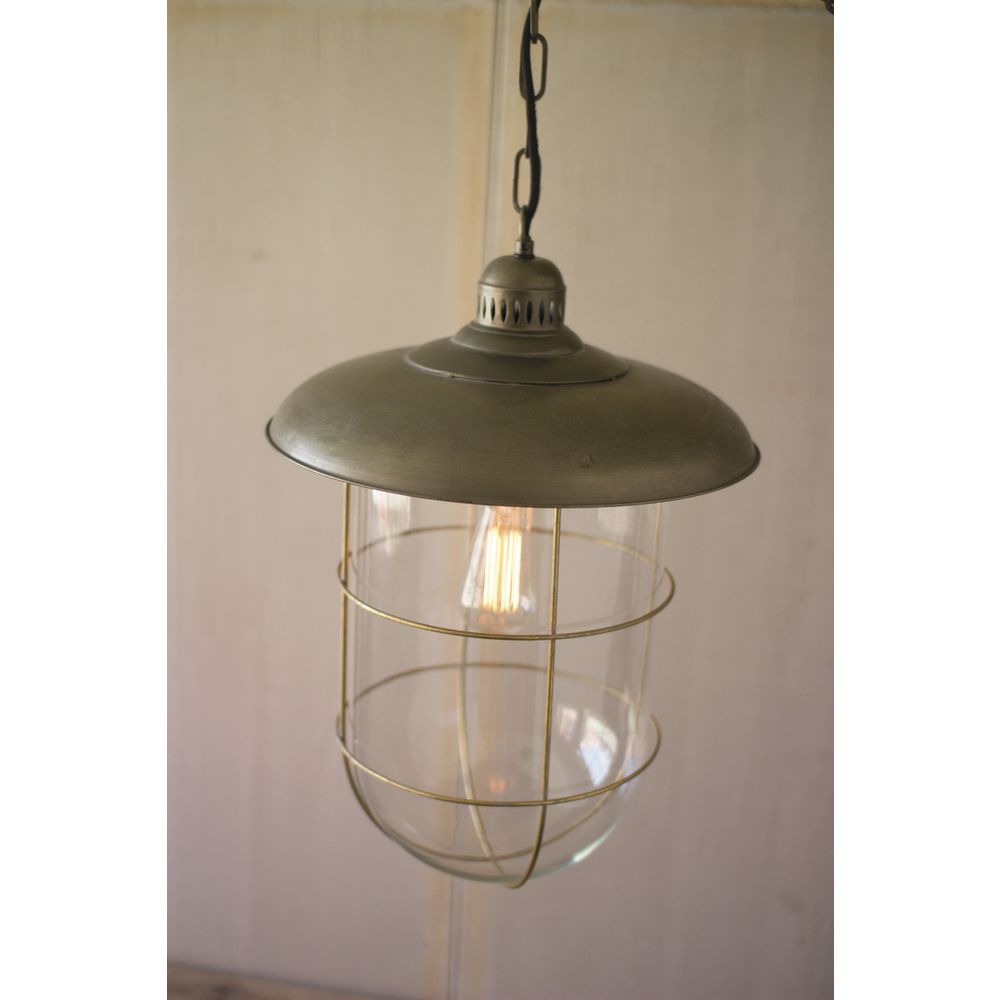 Kalalou Antique Brass Metal Caged Glass Dome Pendant Light