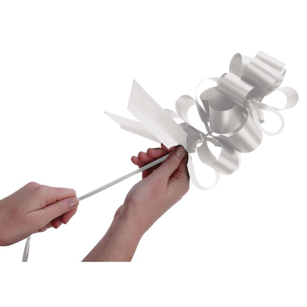 White Flora-Satin Pull Bows