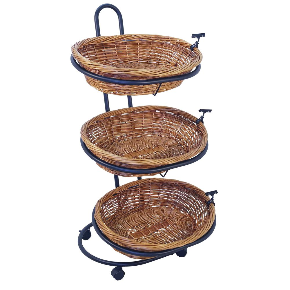 Large Mobile 3 Tiered Basket Stand