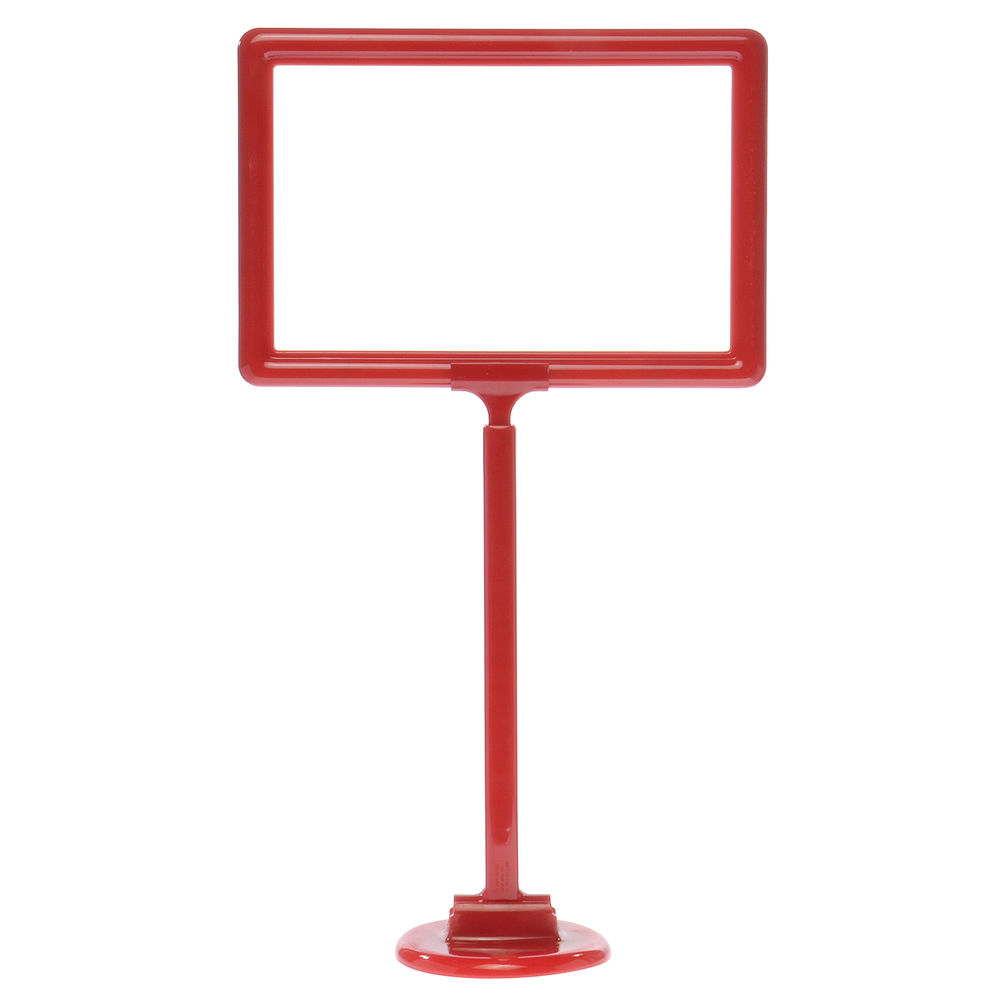 "11 x 7 Adjustable Sign Stand, Red, Stem 12""-22"", Round Base"