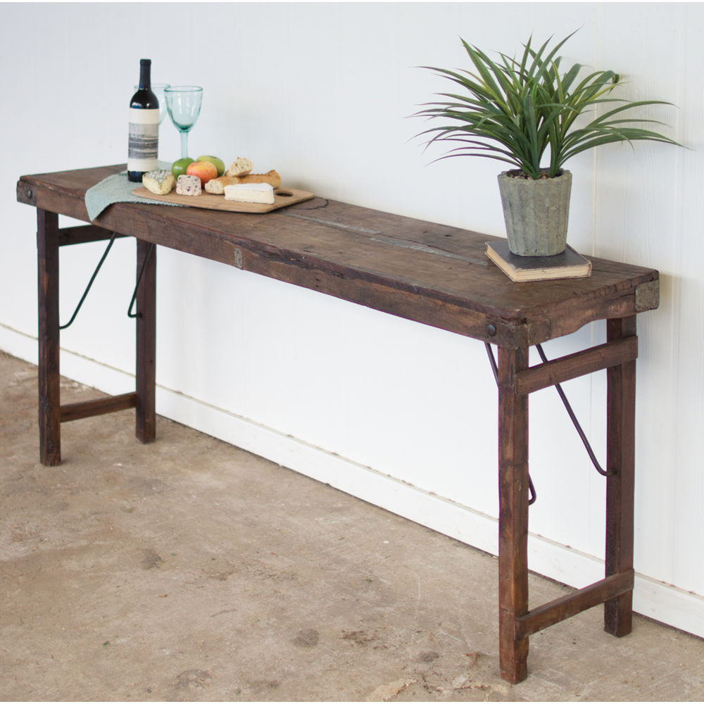 Recycled wood folding buffet display table