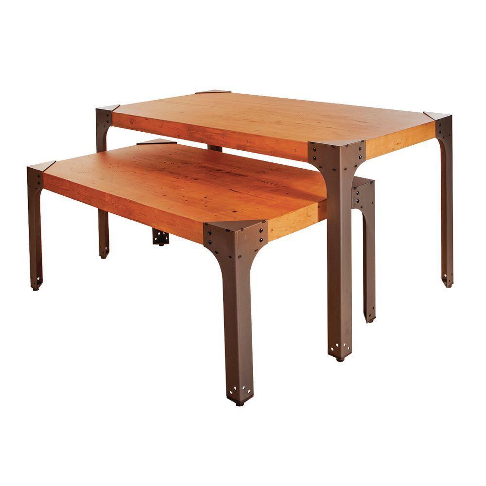 TABLES, NESTING, INDUSTRIAL, STEEL/PINE, SET