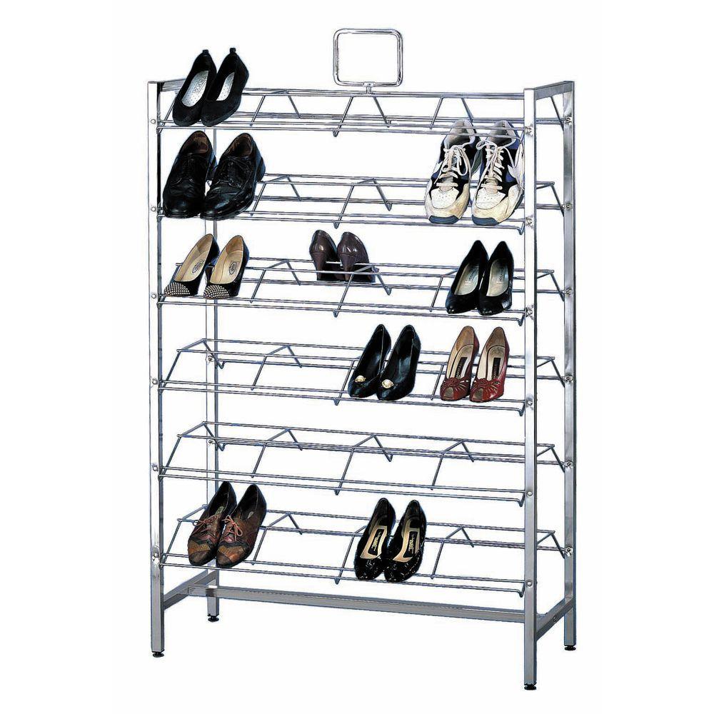 Chrome Shoe Rack Twelve Shelves