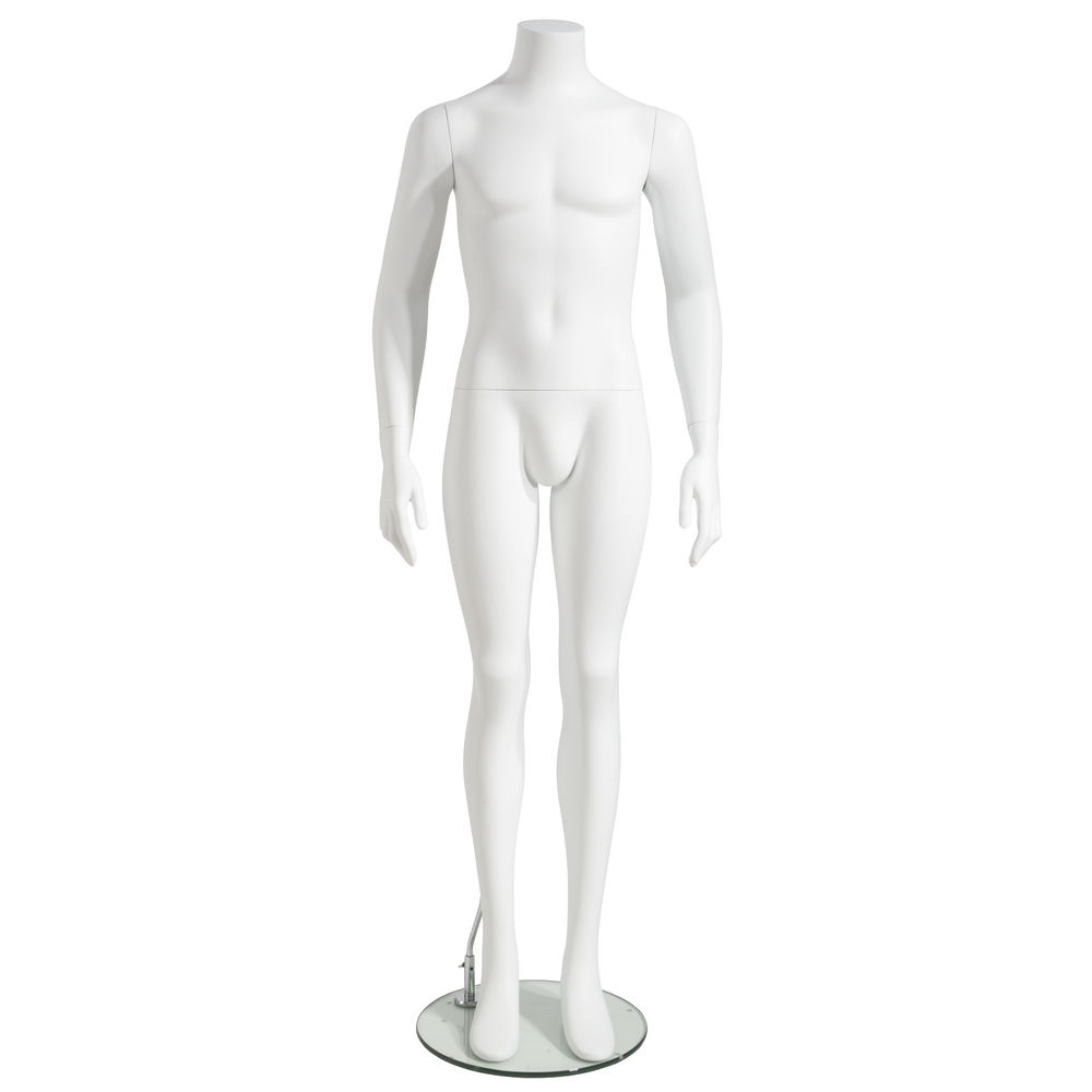 MANNEQUIN, MALE, ARMS AT SIDE, HEADLESS, WHT