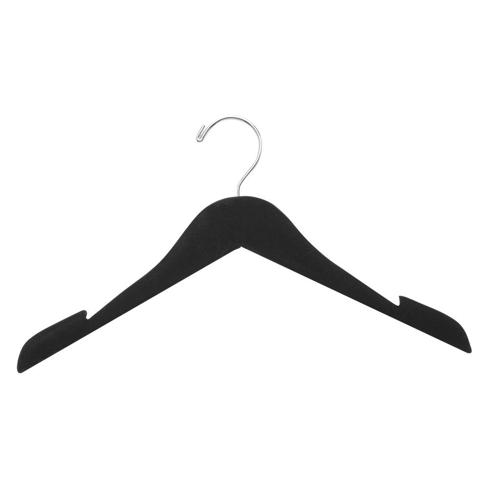 16 Flocked Wooden Top Hanger Black