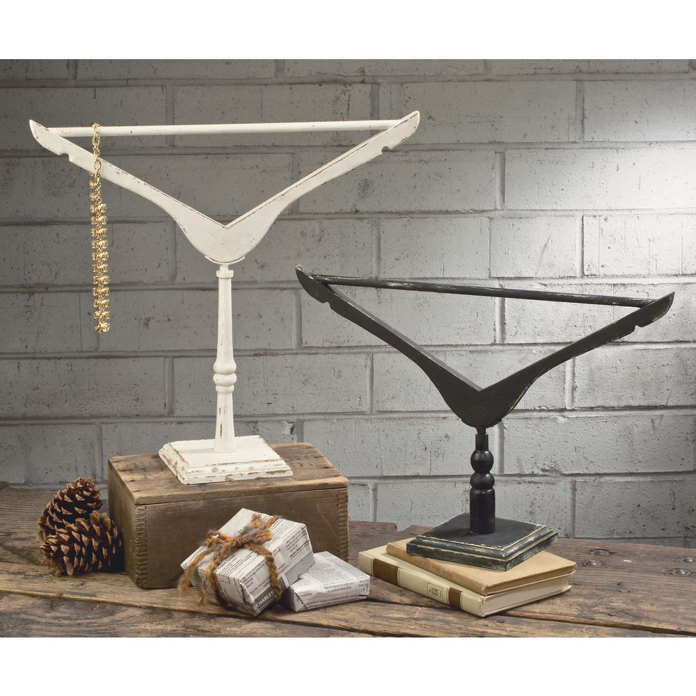 JEWELRY STAND, CLOTHESHANGER, BLK/CRM, SET2