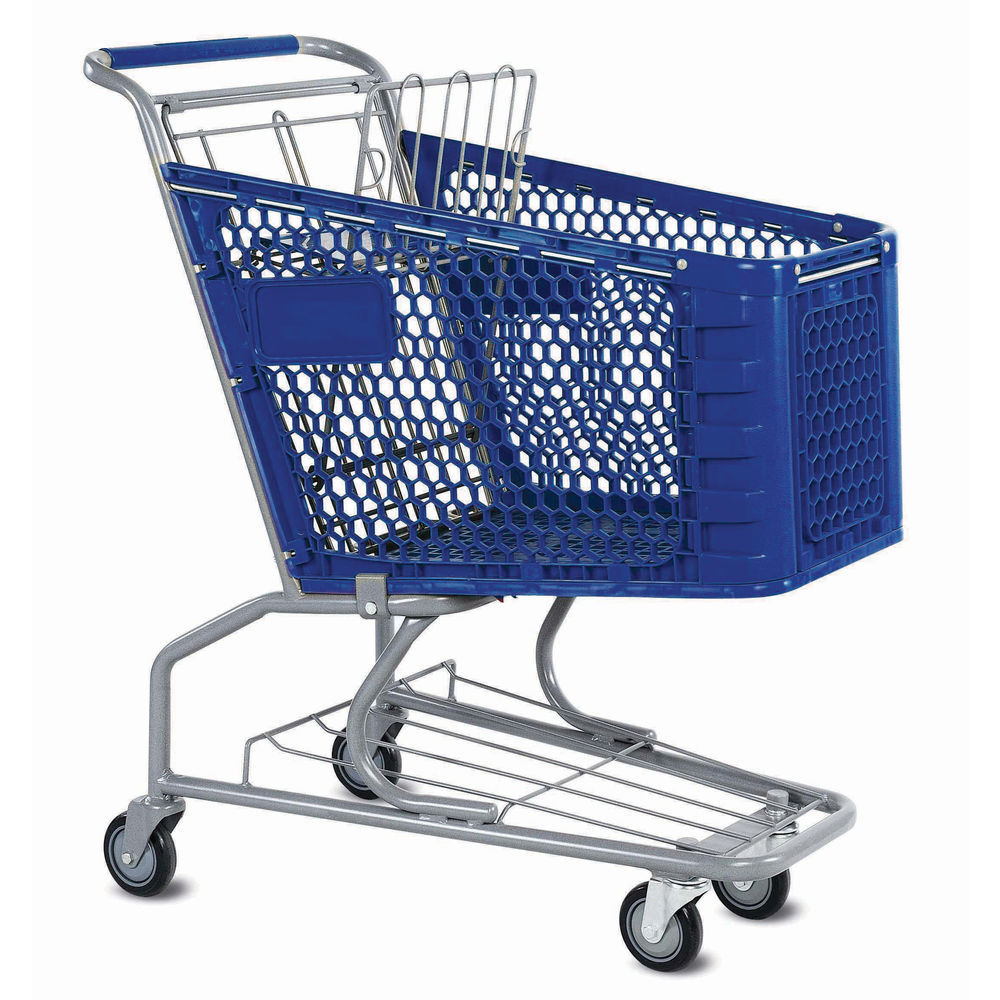 Small Shopping Cart with powder-coated metallic gray frame