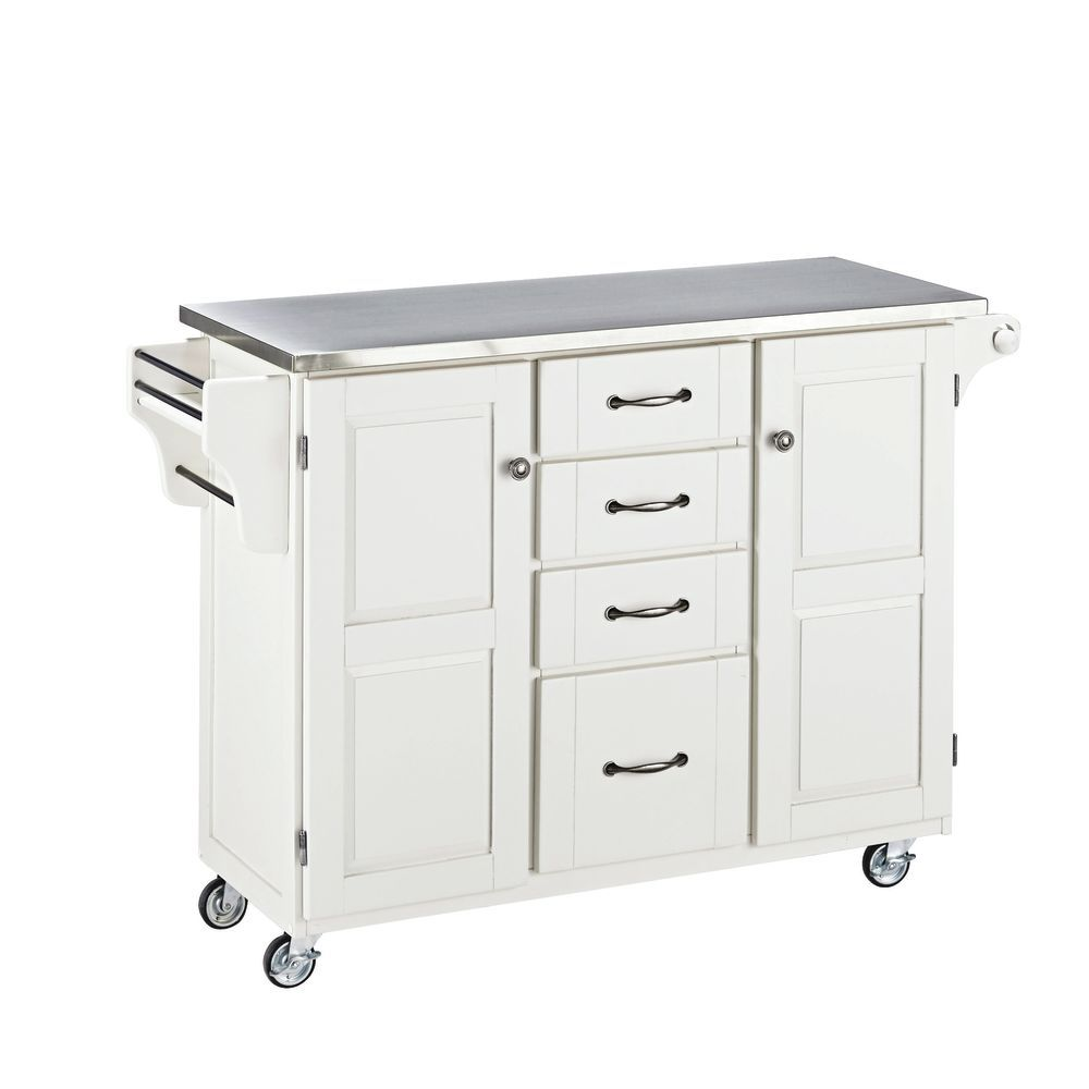 Large Mobile Kitchen Cart White Base W/ Stainless Steel Top