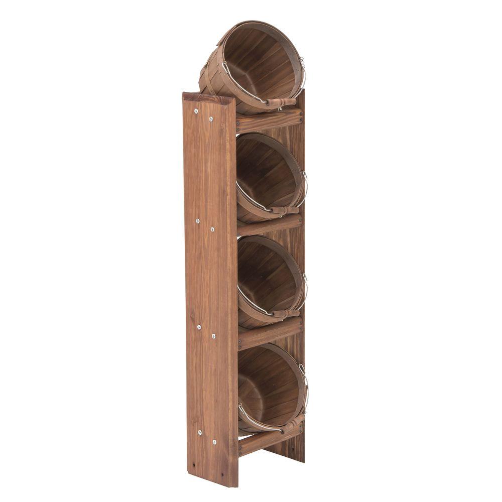 3 Tier 1/2 Peck Basket Rack, Mahogany