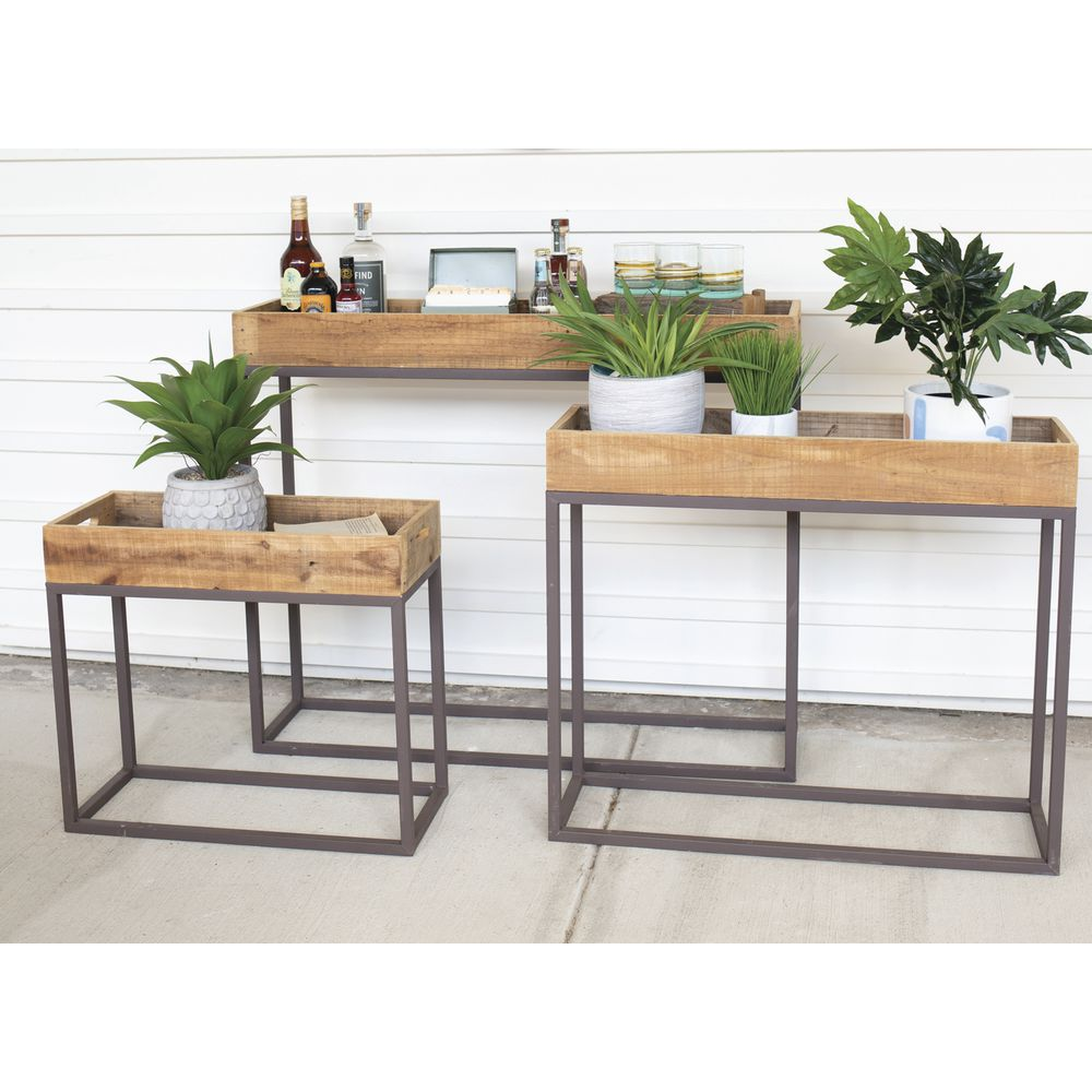 TABLES, WOOD/METAL, TRAY TOP, SET3