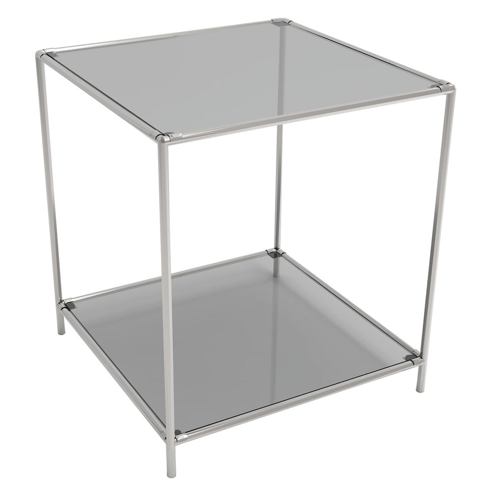 DISPLAY TOWER, 2FIXED SHELVES, SILVER