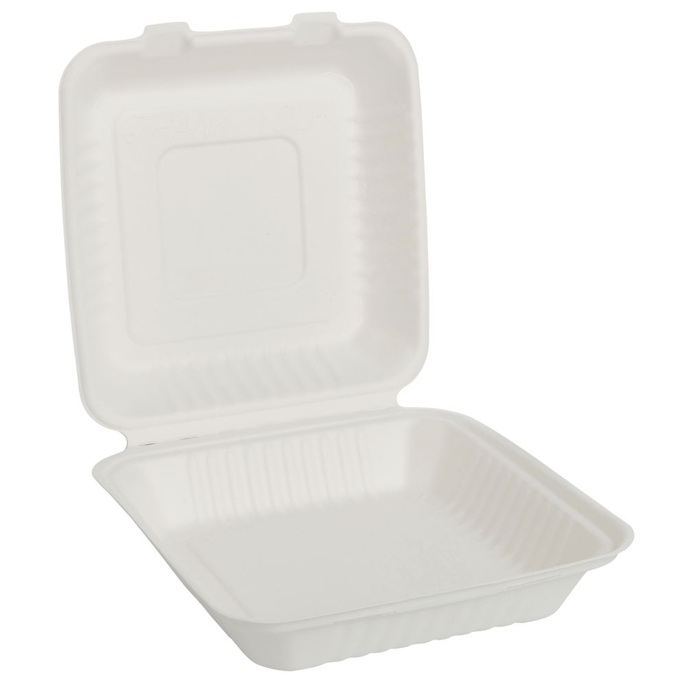 CONTAINER, DISP, TAKE OUT, FIBER, 8X8X3