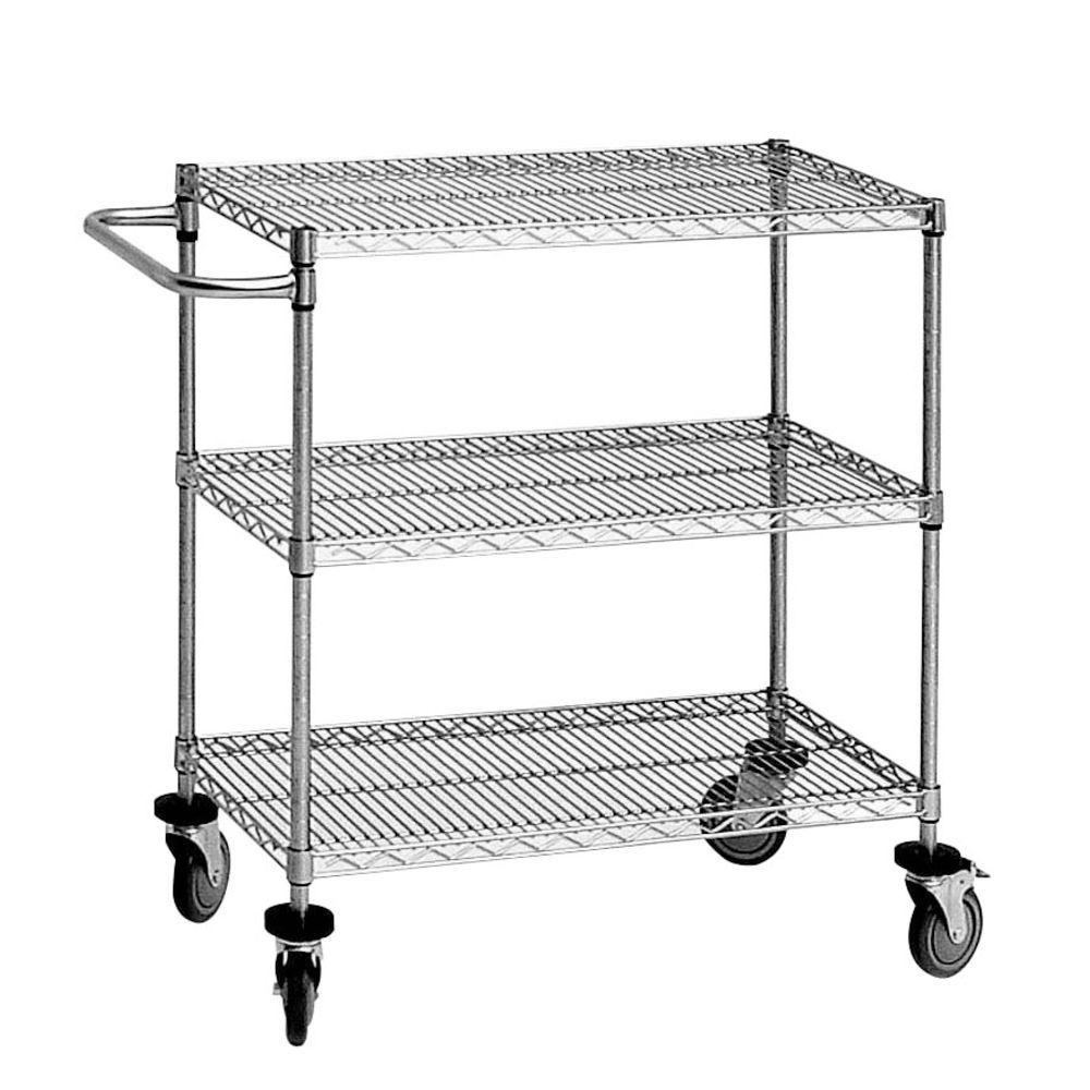 3 Tier Wire Cart, 18 x 36 x 34, Silver