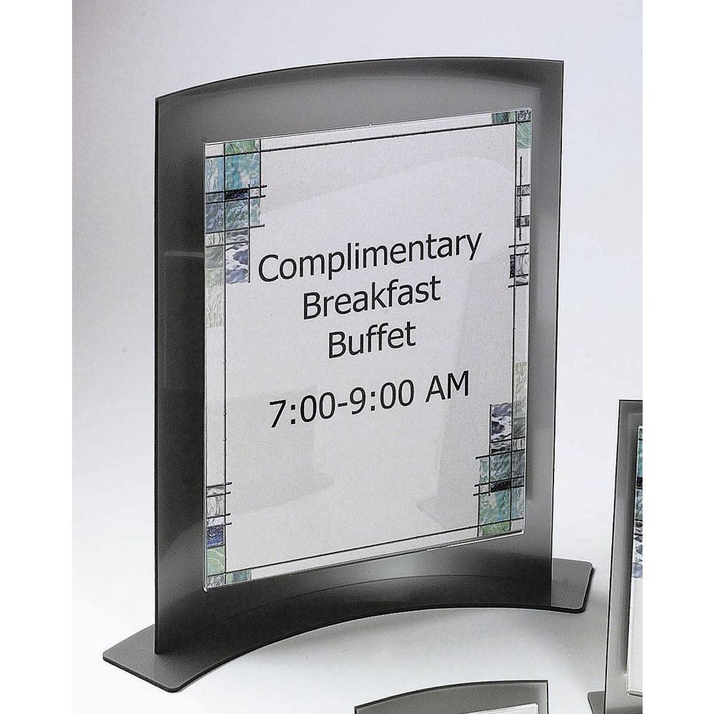Silver Acrylic Counter Top Sign Holder With Curved Base