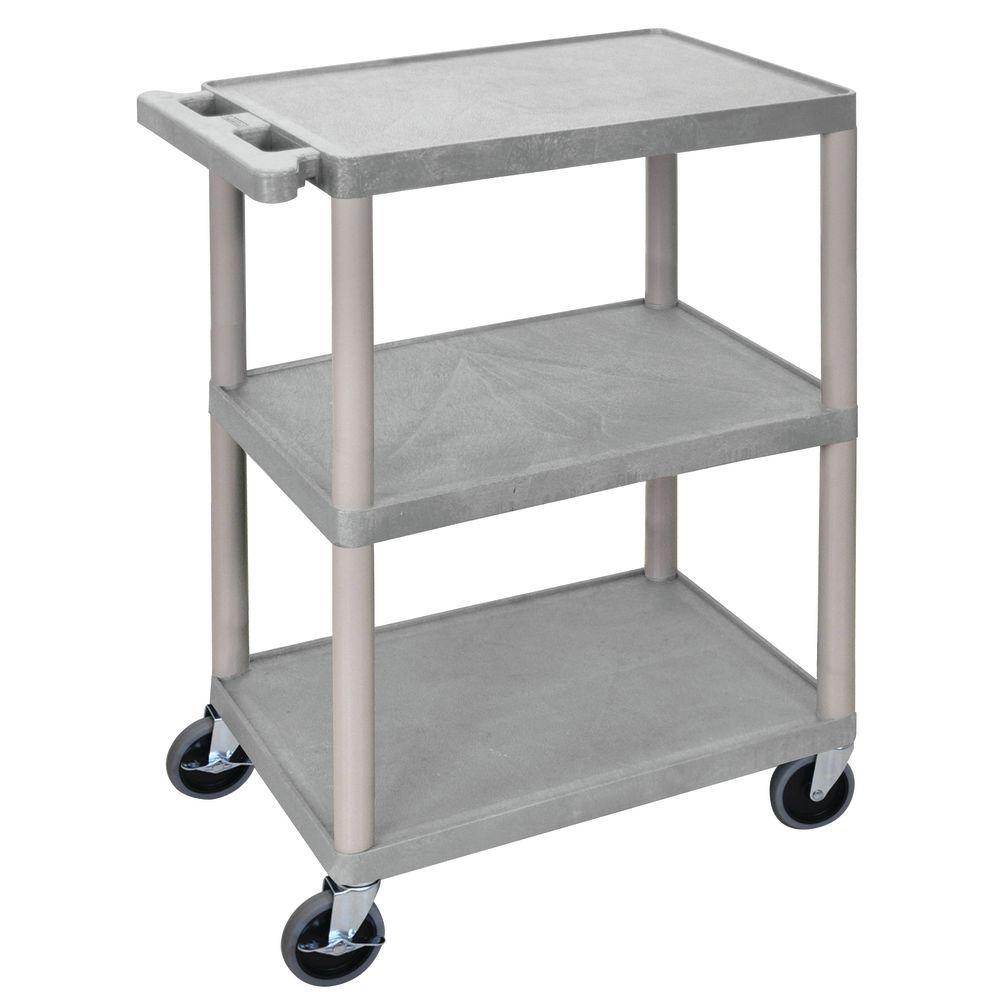 34x24 Gray HDPE Plastic Shelf Cart