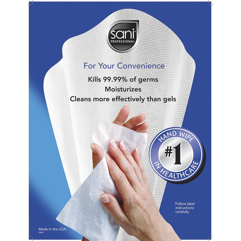 SIGN, SANI-HANDS WIPES, 1-SIDED, 11.5X15