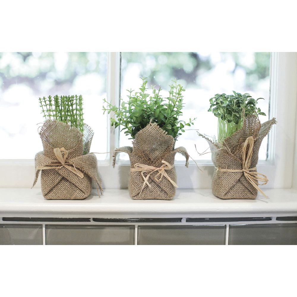 HERBS, FAUX, BURLAP WRAPPED, 3 STYLES, ST/12