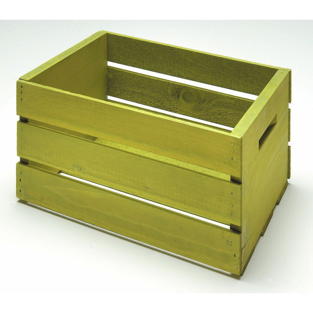 CRATE, WOOD, SMALL, SPRING GREEN