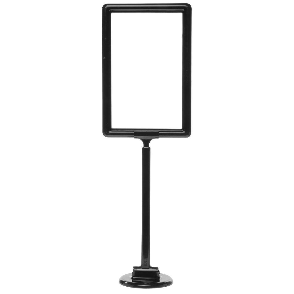"""11 x 7 Adjustable Sign Stand, Black, Stem 12""""-22"""", Round Base"""