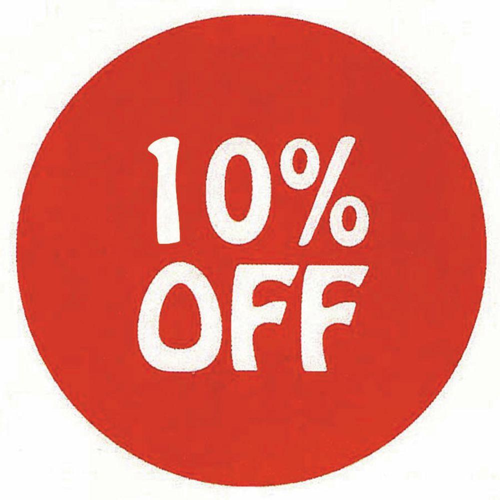 LABEL, 10% OFF, WHITE/RED, 1000/RL