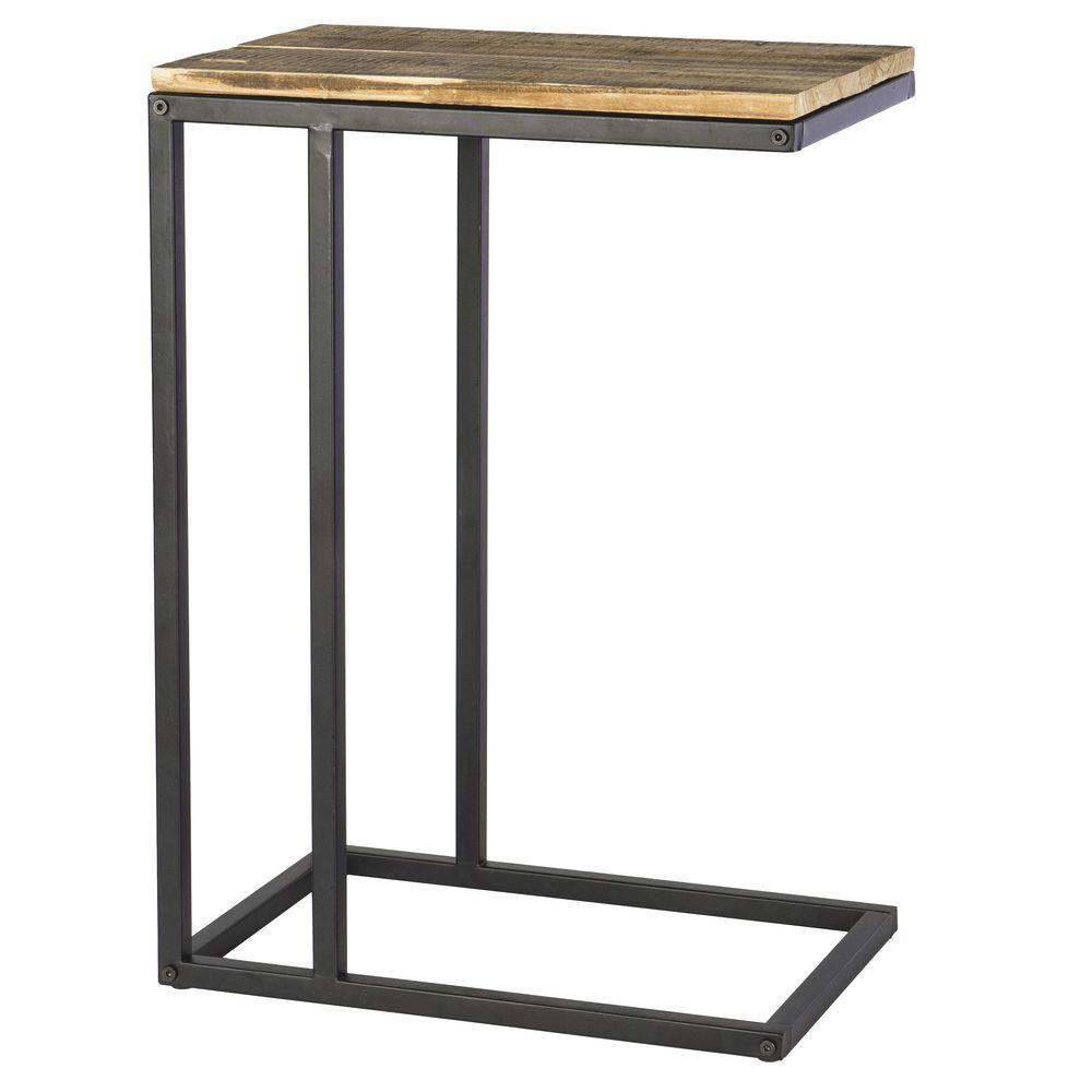 """TABLE, WOOD/METAL, BLACK/NATURAL, 26""""H"""