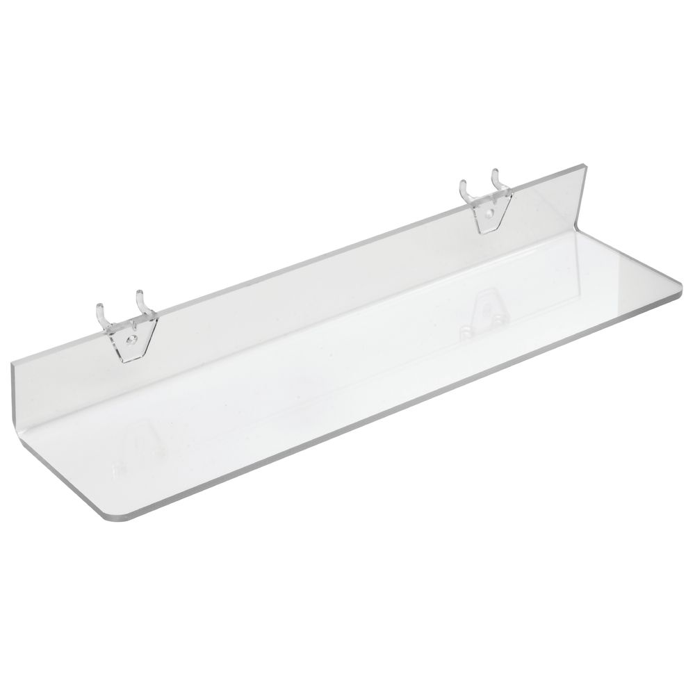 "Count of 4 New Retails Clear Acrylic Shelf For Pegboard /& Slatwall 16/""W x 4/""D"