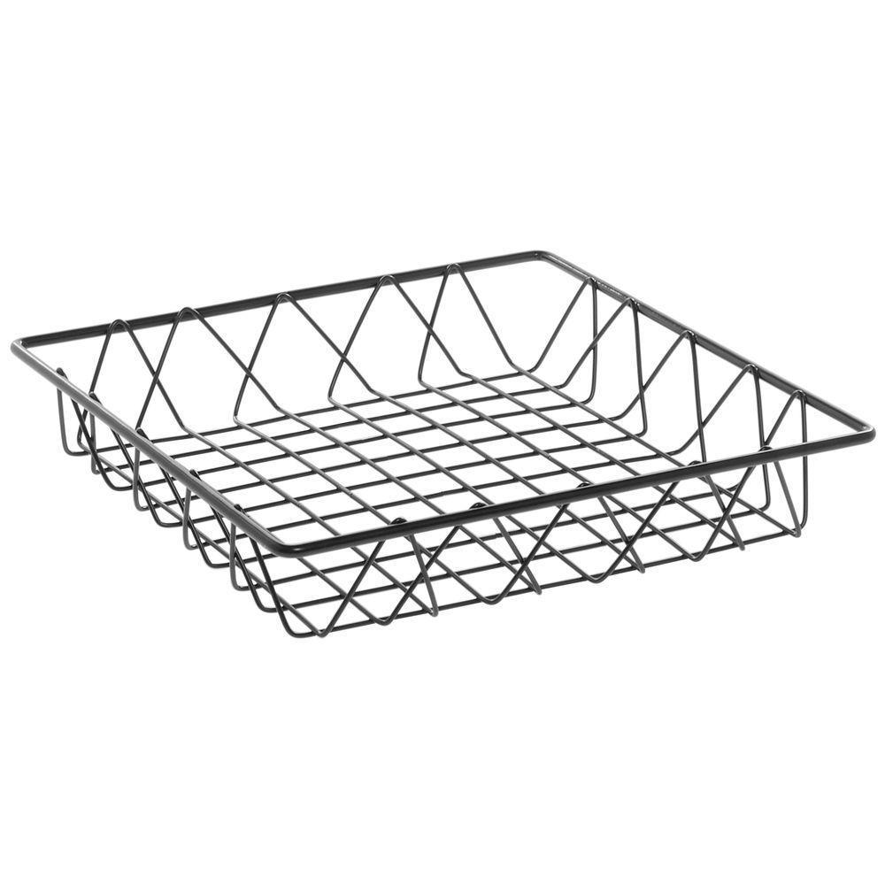 HUBERT Square Nickel Powder-Coated Steel Wire Basket - 12L x 12W x 2H