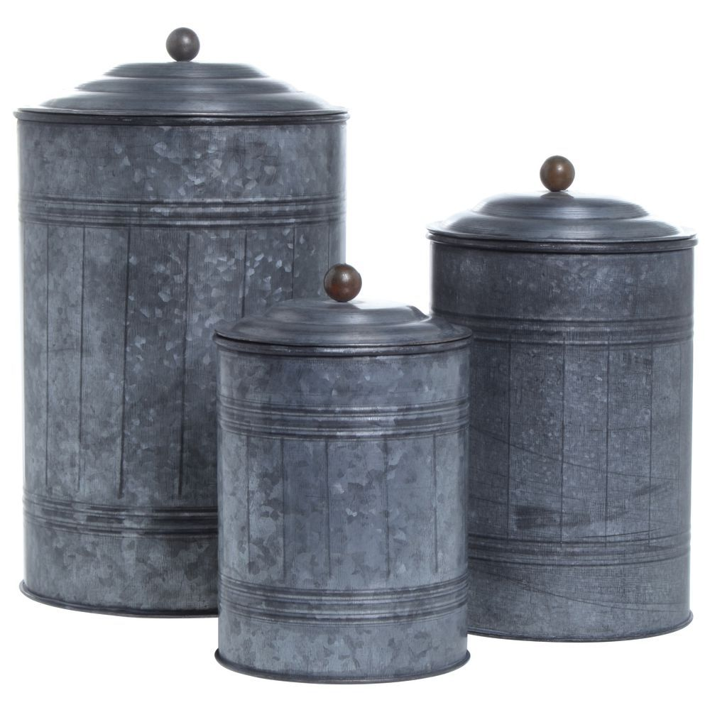 vintage kitchen canister set galvanized canisters set of 3 22585