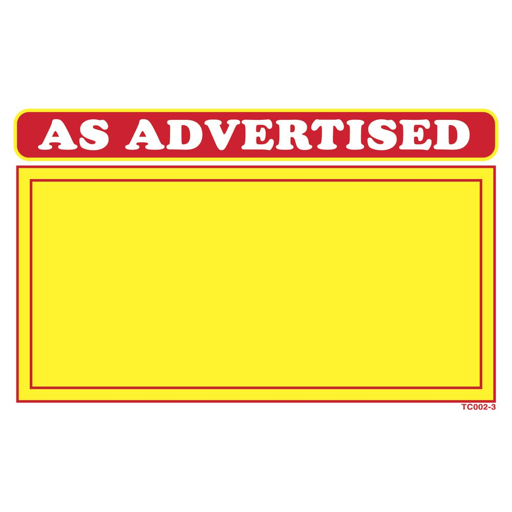 """""""As Advertised"""" Price Signs, 5 1/2 x 3 1/2"""