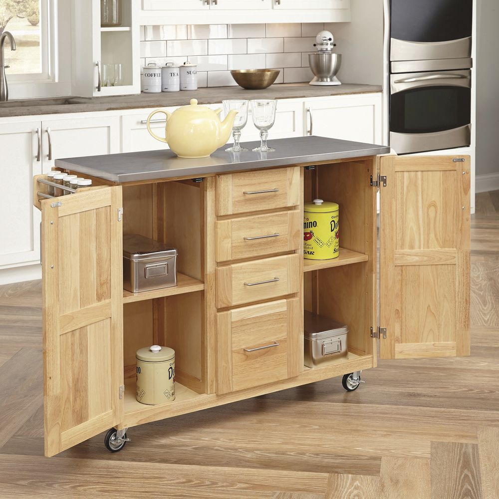 """Cocina Kitchen Cart With Stainless Steel Top: Stainless Steel Cart With Natural Wood Base 52 1/2""""L 18""""D"""