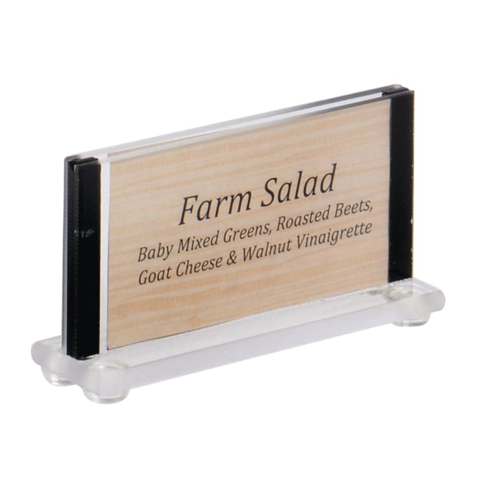 """Acrylic Sign Holders With Black Trim Sides Hold 2""""H x 3 1/2""""W Inserts"""