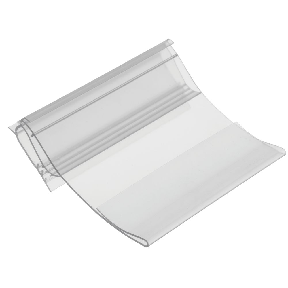 SIGN CLIP, HINGED, PVC, CLEAR, 3.5W, PK25