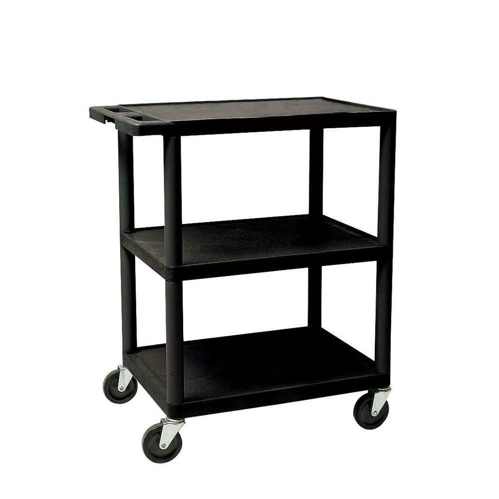 UTILITY CART, BLACK 3-SHELF, 24X18X34
