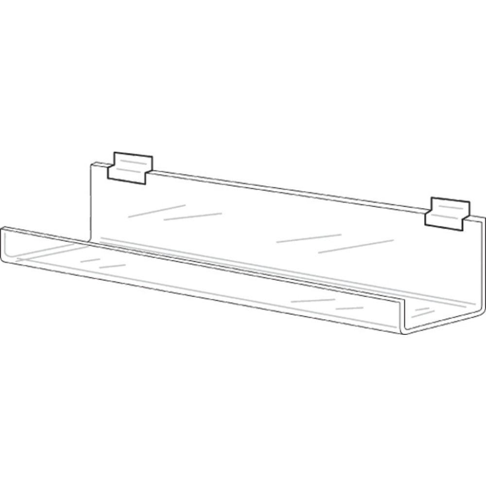 "Clear Acrylic Slatwall Shelves, 47 3/4"""