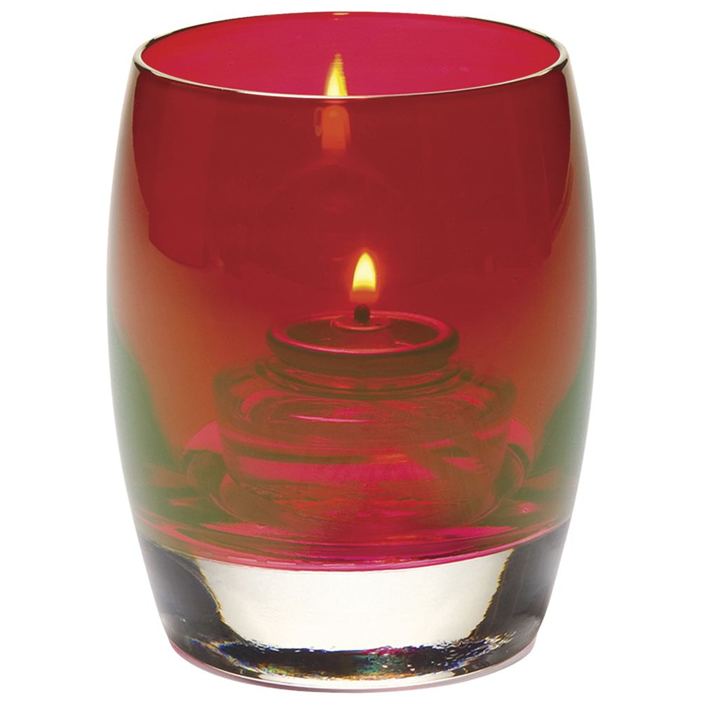 "Contour Lustre Votive Candle Holder Ruby In Color Glass 3""Dia x 3 3/4""H"