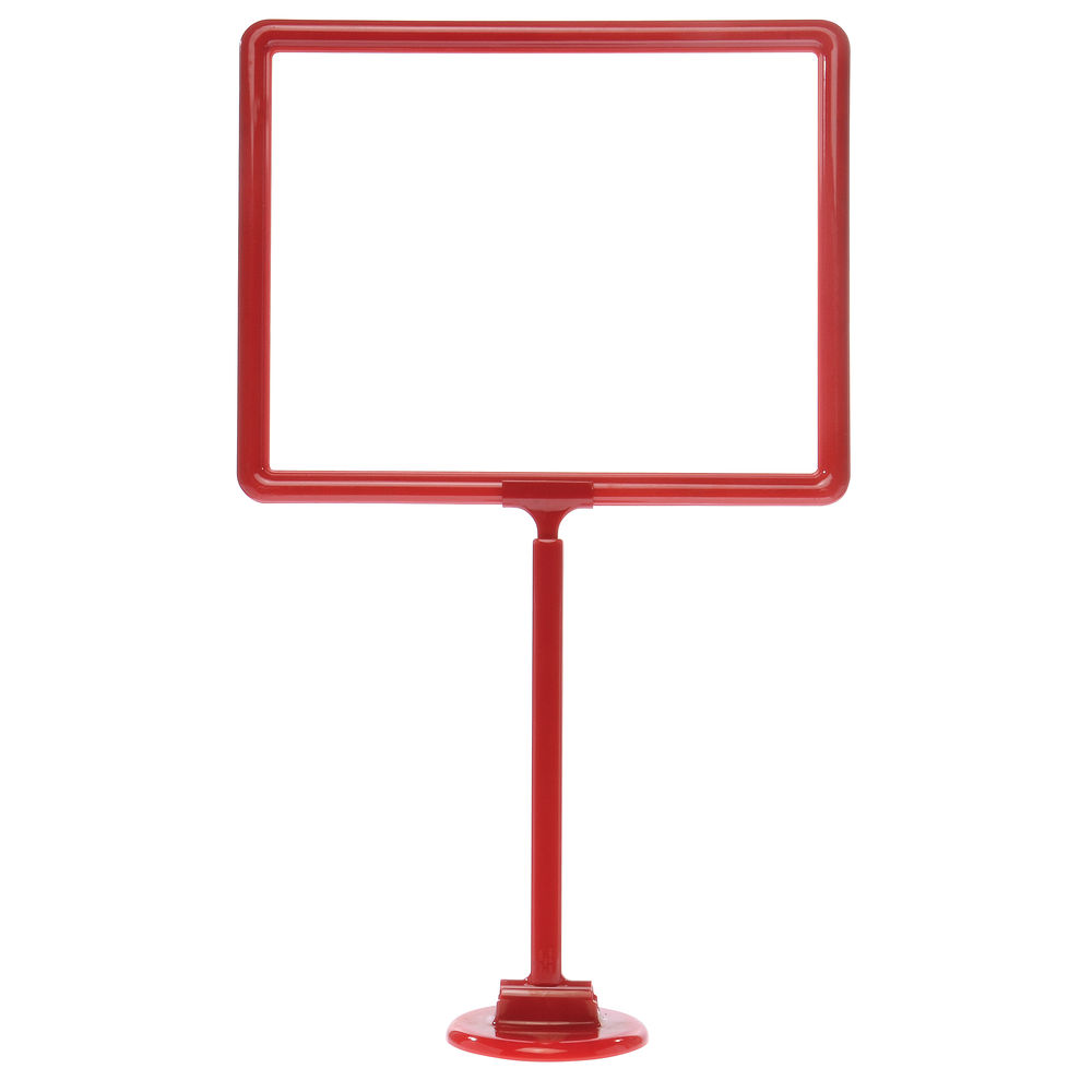 14 x 11 Adjustable Sign Stand, Red, Stem, Round base